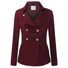 Women lapel Double Breasted Wool long Coat Warm Outerwear jacket M/L/XL/XXL/XXL