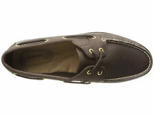 Sperry Top-Sider STS90335 Leeward Women 2-Eye Leather Shoes Dark Brown Size 8.5