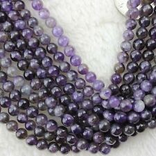 4-10mm Natural Round Amethyst Beads Loose Gemstone Beads for Jewelry Making 15""
