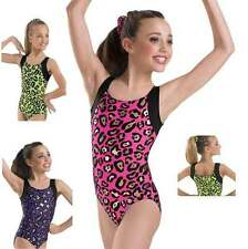 NEW Colorful Cheetah Leopard Black Metallic Dance Gymnastics Leotard Child