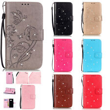 Bling Crystal Butterfly Wallet TPU Leather Flip Case Cover For Galaxy iphone