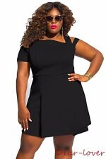 Black Plus Size Cold Shoulder Women Sexy Evening Party Club Shirt Skater Dress