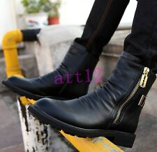New Mens PU Leather Combat Punk Round Toe Ankle Boot Buckle Zip Motorcycle Shoes