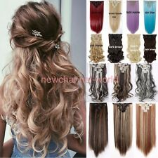 New Thick Full Head Clip In Hair Extension Brown Blonde Real Natural Long Curly