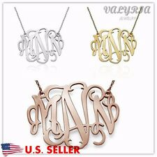 1.5'' Large Personalized Monogram Necklace with Any 3 Initials - Stainless Steel