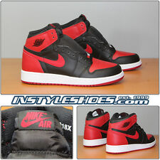 Nike Air Jordan 1 Retro GS Banned Black Varsity Red Bred 575441-001 Grade School