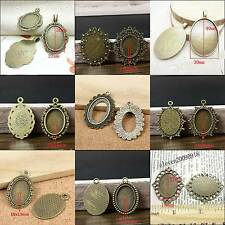 10PCS Antique Bronze Oval Cameo Cabochon Bezel Settings Pendant Blank Base Trays