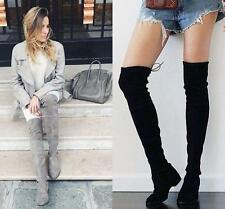 New Women's Flat Long Thigh Boot Over Knee High Boot Slouch Lace Up Casual Shoes