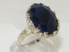 English Hallmarked Solid 925 Sterling Silver Synthetic SAPPHIRE Solitaire Ring