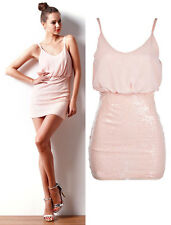 Girls Chiffon Bodycon Stretch Party Dress Ladies Blouson Sequin Casual Dresses