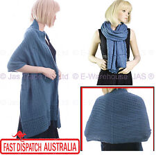 Ladies Fashion Knitted Stole Winter Shawl Wrap Cable Knit Scarf Denim Light Blue