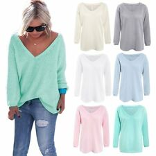Sexy Women's V Neck Knit Sweater Pullover Solid Long Sleeve Crohet Sweater Tops