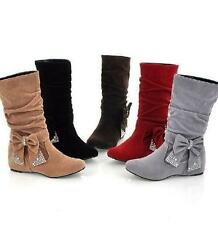 Winter  Womens Mid-Calf Bowknot Boot Faux Suede Wedge Heel Slouch Shoe All US Sz