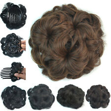 75g Girls Clip In Wave Curly Insert Combs Hair Bun Flower Chignon Hair Extension