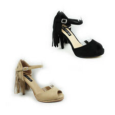 WOMENS LADIES PEEP TOE ANKLE STRAP TASSLE STILETTO HEEL SHOES SANDALS SIZE 3-8