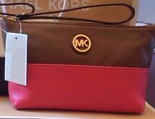 Michael Kors Authentic Fulton Leather Pouch Wristlet Navy or Watermelon Pink NWT
