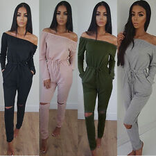Sexy Womens New One Shoulder Evening Party Playsuit Ladies Long Jumpsuit Romper