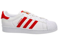 NEW WOMENS ADIDAS ORIGINALS SUPERSTAR CASUAL SHOES TRAINERS WHITE / SCARLET / WH