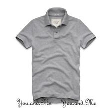 NEW ABERCROMBIE & FITCH MEN A&F Beaver Mountain Cotton Polo Shirt H Grey S M XL