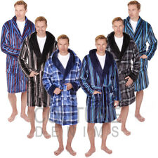 Mens Soft Luxurious Stripe & Check Fleece Dressing Gown Robe Hooded/Shawl Collar