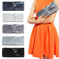 Satin Diamante Pleated Bridal Clutch Bag Ladies Evening Handbag Shoulder Bag