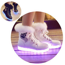 Women High Top LED Ankle Snow Boots Diamante Fur Lace Up Shoes Trainer Sneakers