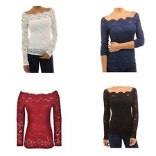 Autumn Sexy Off Shoulder Lace Crochet Shirts Long Sleeve Casual Tops Blouse WK