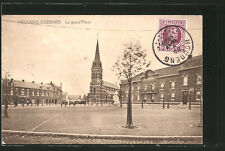 splendide CPA Houdeng-Goegnies, La grand´Place avec l'Église 1925