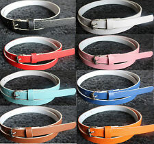 8 Colors Fashion Women Lady Faux Leather Thin Skinny Waist Belt Buckle Colorful