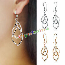 A Pair Women 925 Silver Plated Fashion  Dangle Ear Stud Hoop Earrings Jewelry