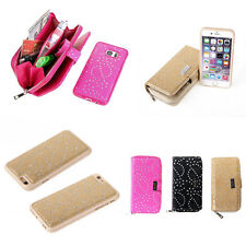 Magnetic Zipper Removable Leather Wallet Card Slot Case Cover For iPhone/Samsung