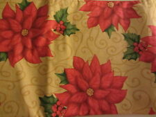 CHRISTMAS HOLIDAY POINSETTIA VINYL TABLECLOTH FLANNEL BACK ALL SIZES