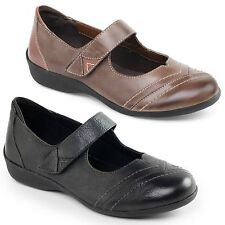 Padders DWELL Ladies Leather Extra Wide Fit Mary Jane Comfort Touch Fasten Shoes