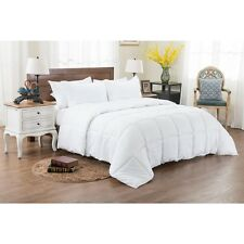 3 piece White Reversible Solid/ Emboss Striped Comforter Set