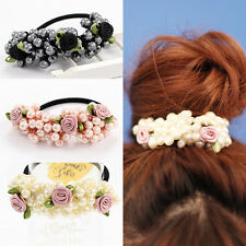 Women's Pearls Hair Band Elastic Flower Bead Rope Elegant Ponytail Holder New