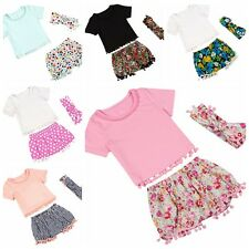 Infants Baby Kids Girls Outfits Clothes Set with T-shirt + Shorts +Headbands