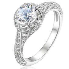1.8 Ct Halo Round White CZ 925 Sterling Silver Engagement Wedding Ring Size 5-10