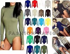 Womens Polo Turtle Neck Ladies Long Sleeve Stretch Leotard Bodysuit T-Shirt Top