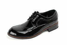 Mens Black Shoes Italian Smart Shiny Style Leather Wedding Office Lace Up Size
