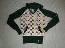 NEW WOMENS RARE HARAJUKU LOVERS HEART LOGO HOODIE SWEATER GREEN RED KNIT TOP S