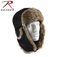 Flyers Hat Deluxe Black Fur Lined Flyers Hat w/ Fold Down Earflaps Rothco 9870