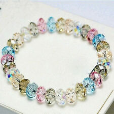 Lady Fashion Crystal Faceted Loose beads Bracelet Stretch Bangle Hot