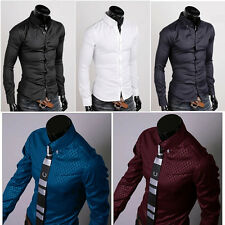 New Fashion Mens Luxury Business Casual Dress Shirt Stylish Slim Fit Long Sleeve