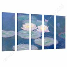 CANVAS +GIFT Water Lilies Claude Monet 5 Panels Wall Decor Paints Pictures