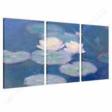 CANVAS +GIFT Water Lilies Claude Monet 3 Panels Prints Poster Paints Giclee