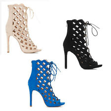 WOMENS LADIES LACE UP PEEP TOE HIGH HEEL ANKLE SANDALS BOOTS SHOES SIZE 2-7