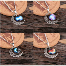Lady Galactic Glass Cabochon Pendant Silver-Tone Crescent Moon Necklace Hot
