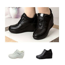 WOMAN SHOES DESIGNER LEATHER WEDGE HEEL SNEAKER BLACK OR WHITE