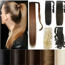 US drawstring clip In ponytail pony tail hair extension wrap around as human p01