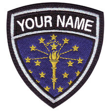 INDIANA CUSTOM CREST FLAG NAME EMBROIDERED PATCH